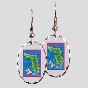 Florida Map Greetings Earring Oval Charm