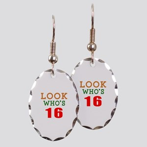 Look Who's 16 Birthday Earring Oval Charm