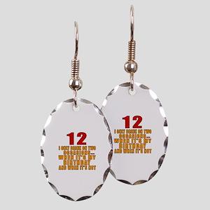 12 birthday Designs Earring Oval Charm