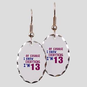 I Know Everythig I Am 13 Earring Oval Charm