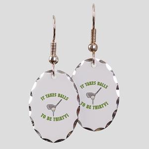 30th Birthday Golfing Gag Earring Oval Charm