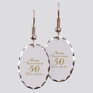 Stylish 50th Anniversary Earring Oval Charm