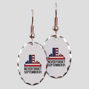 9 11 Never Forget Earring Oval Charm