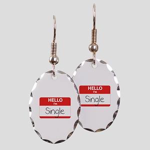 Hello I'm Single Earring Oval Charm