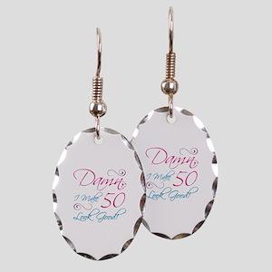 50th Birthday Humor Earring Oval Charm