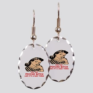 Retro Psycho Bitch Earring Oval Charm
