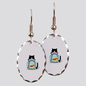 Tuxedo Cat with Fish Earring Oval Charm