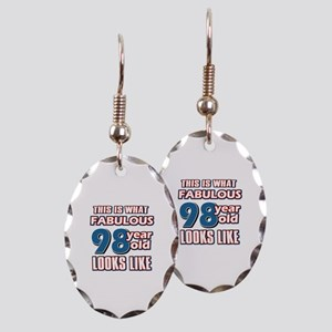 Cool 98 year old birthday designs Earring Oval Cha