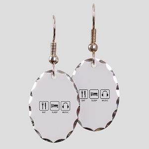 Eat Sleep Music Earring Oval Charm