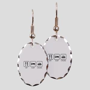 Eat Sleep Curling Earring Oval Charm