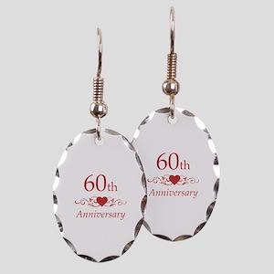 60th Wedding Anniversary Earring Oval Charm
