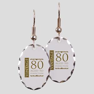Fancy Vintage 80th Birthday Earring Oval Charm