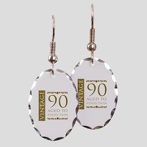 Fancy Vintage 90th Birthday Earring Oval Charm