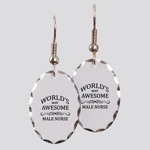 World's Most Awesome Male Nurse Earring Oval Charm