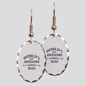 World's Most Awesome Boss Earring Oval Charm