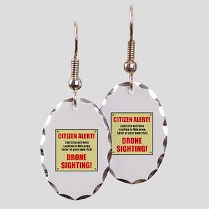 Citizen Alert! Drone Sighting! Earring Oval Charm