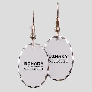 Binary It's As Easy As 01,10,11 Earring Oval Charm