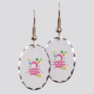 2nd Birthday with Balloons - Pi Earring Oval Charm