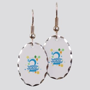 2nd Birthday with Balloons - Bl Earring Oval Charm
