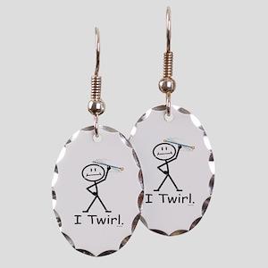 Baton Twirler Stick Figure Earring Oval Charm