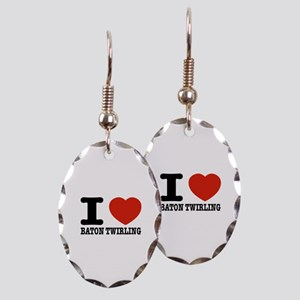 I love Baton Twirling Earring Oval Charm