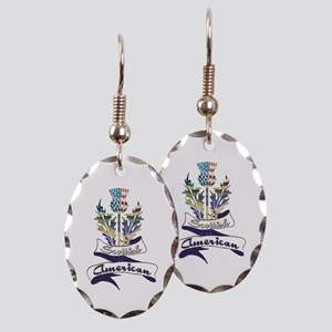 Scottish American Thistle Earring Oval Charm