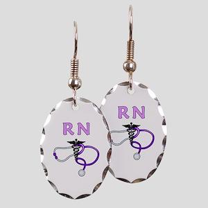 RN Nurse Medical Earring Oval Charm