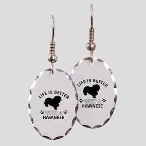 Funny Havanese lover designs Earring Oval Charm