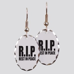 R.I.P. REST IN PEACE Earring Oval Charm