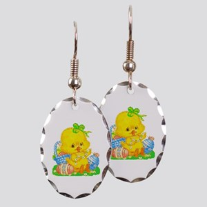 Vintage Cute Easter Duckling Earring Oval Charm
