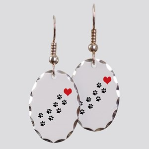 Paw Prints To My Heart Earring Oval Charm