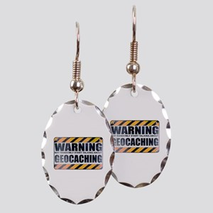 Warning: Geocaching Earring Oval Charm