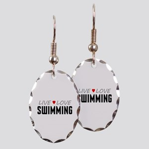 Live Love Swimming Earring Oval Charm