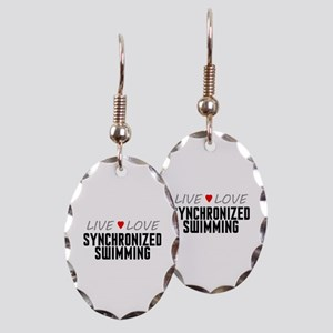 Live Love Synchronized Swimming Earring Oval Charm