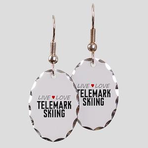 Live Love Telemark Skiing Earring Oval Charm