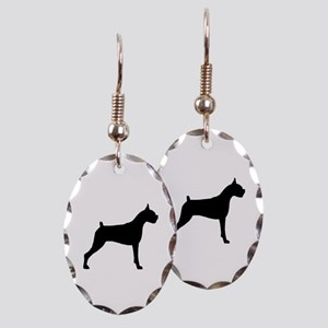 Boxer Dog Earring Oval Charm
