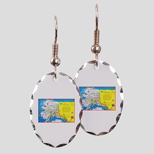 Alaska Map Greetings Earring Oval Charm