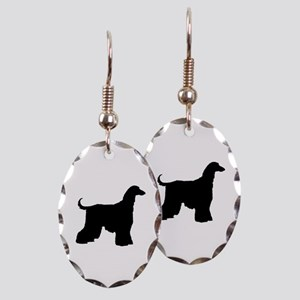 Afghan Hound Dog Earring Oval Charm
