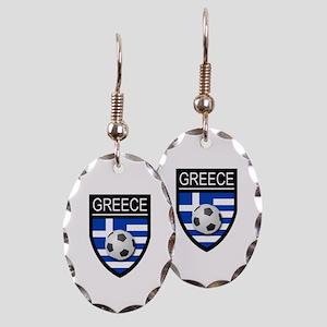 Greece Soccer Patch Earring Oval Charm