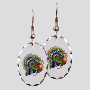 Patchwork Thanksgiving Turkey Earring Oval Charm