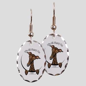Brindle Greyhound IAAM Earring Oval Charm