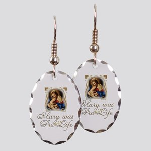 Mary was Pro-Life (vertical) Earring Oval Charm