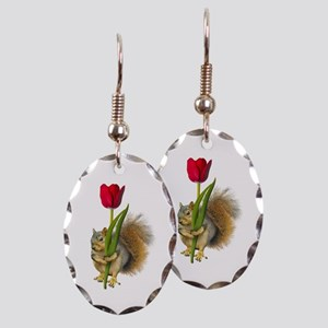 Squirrel Red Tulip Earring Oval Charm