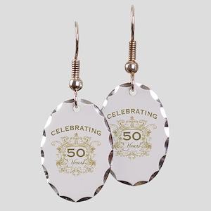 50th Wedding Anniversary Earring Oval Charm