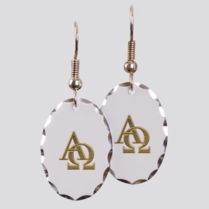 """3-D"" Golden Alpha and Omega Symbol Earring Oval C"