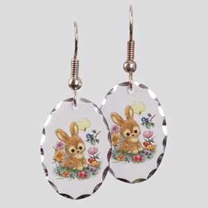 Cute Easter Bunny With Flowers Earring Oval Charm