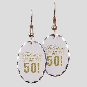 Fabulous 50th Birthday Earring Oval Charm