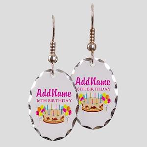 16TH BIRTHDAY Earring Oval Charm