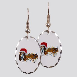 Basset Tangled In Christmas Earring Oval Charm