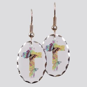 Pastel floral cross and butterflies Earring